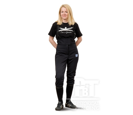 HM08n - Black 350N fencing pants elastic material for women (wit